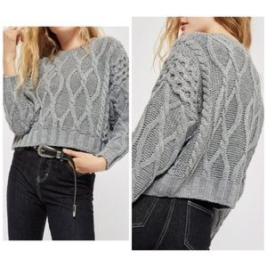 Topshop Crop Cable Knit Sweater